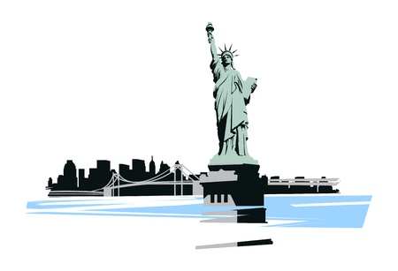 new york city panorama: Statue of Liberty in the background of the bridge and New York Illustration