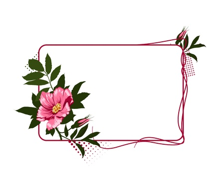 The frame with the wild pink roses Vector
