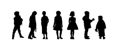 petite fille avec robe: Les silhouettes des garçons et des filles d'âge préscolaire Illustration
