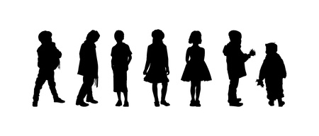 little girl dress: The silhouettes of boys and girls of preschool age