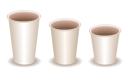 out of use: three blank white paper coffee cups