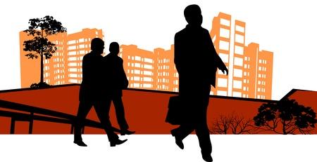three men: three men go to work in front of skyscrapers Illustration