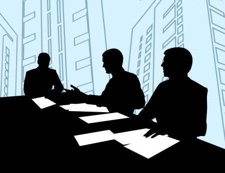 business discussion: tres hombres sentados en la mesa y negociar con los dem�s