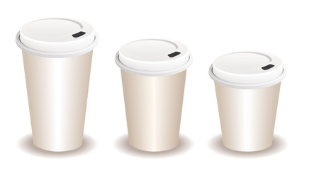 disposable: three paper coffee cups with a plastic lid