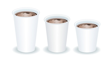 take out food: three paper cups filled with cocoa Illustration