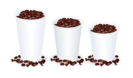 take out: three paper cups filled with coffee beans