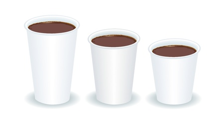 out of use: three paper cups filled with coffee