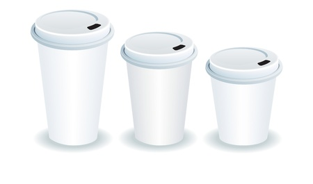 out of use: three paper cups with plastic lids