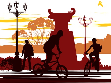 two cyclists and one person on the street Vector