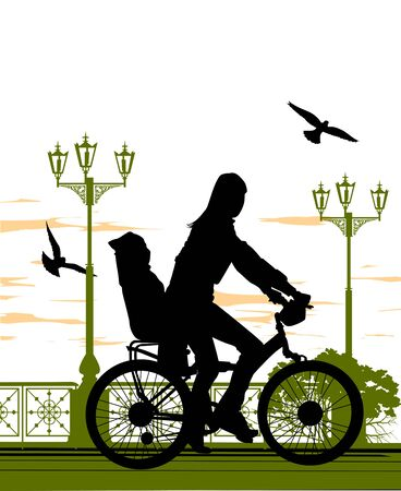 woman rides a bicycle with her daughter on the waterfront Vector
