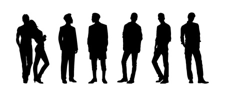 guy standing: Black silhouettes of men and woman Illustration