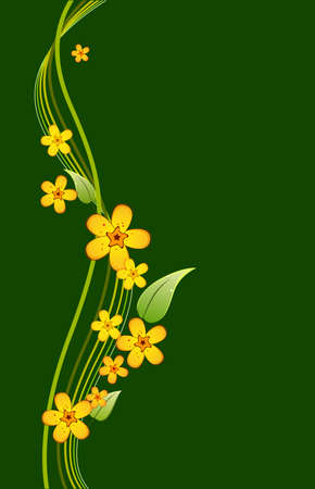 bouquet of yellow flowers on a green background Stock Vector - 13920411