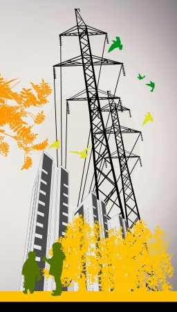boy and girl on the background of high-rise buildings Vector