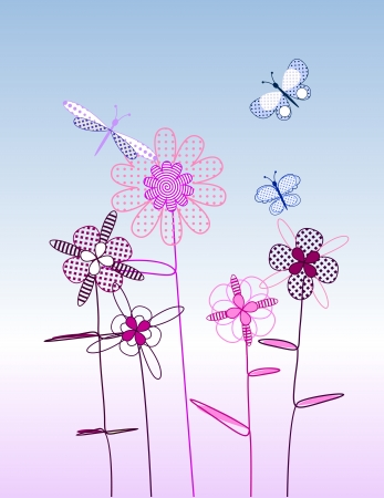 Cards with a bouquet of flowers and butterflies Stock Vector - 13920471