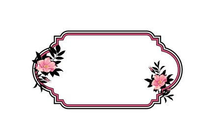 Classic hand drawn oval frame with roses Stock Vector - 13920258