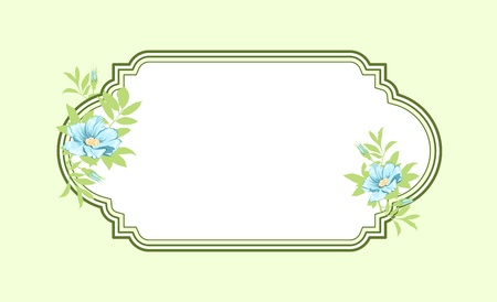 Classic hand drawn oval green frame with light blue roses Vector