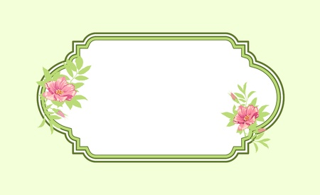 Classic hand drawn oval green frame with roses