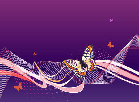 abstract blue background with butterflies, waves  and stars Vector