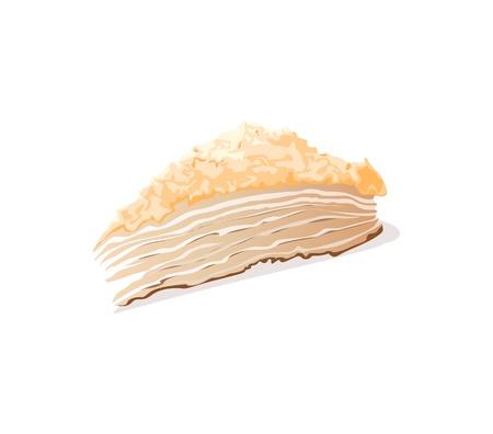 porcion de pastel: pedazo de pastel sobre un fondo blanco