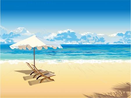 En la playa bajo una sombrilla de vacaciones tropicales