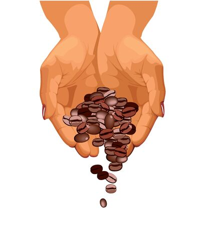 coffee sack: Coffee beans are falling down from two hands