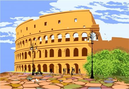 rome italie: Monument de la Rome antique Colis�e Illustration