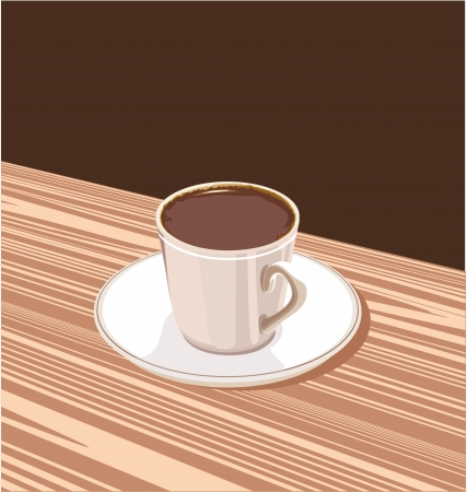 overflowing: cup of coffee on a saucer standing on a brown background