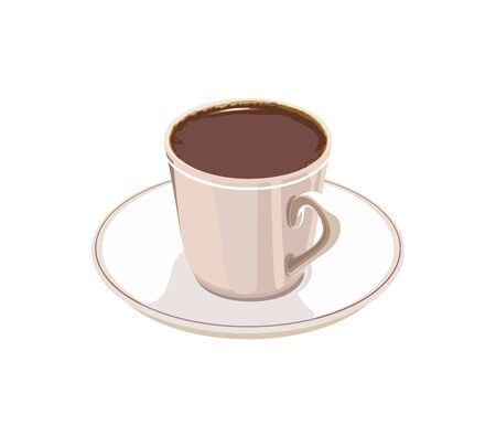 cup of coffee on a white saucer on a white background Stock Vector - 13914346