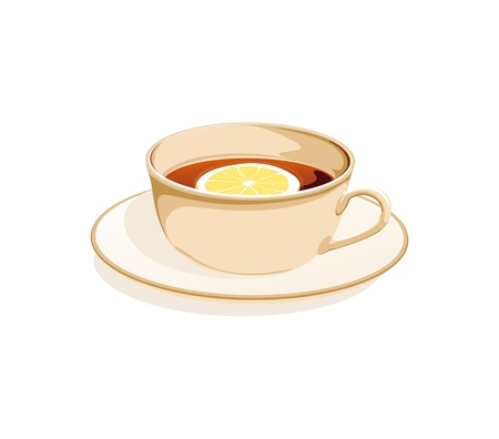 clr: cup of tea and a lemon on a plate on a white background