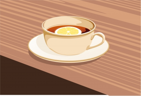 clr: cup of tea and a lemon stands on a saucer