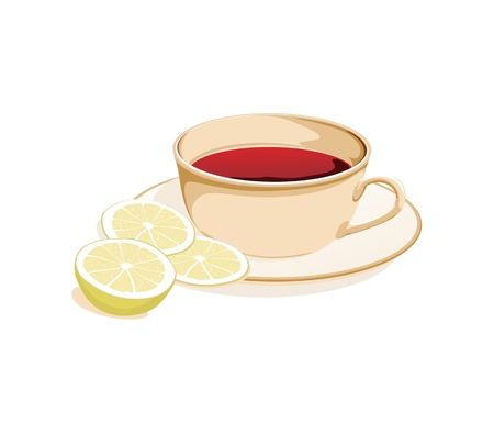 clr: cup of tea and slices of lemon on a plate on a white background