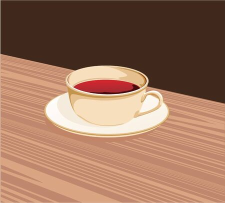 hot coffees: cup of tea standing on a saucer on the table