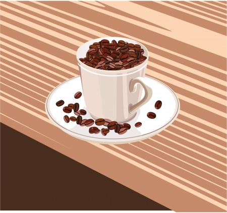 coffee sack: cup with coffee beans stands on a white saucer Illustration