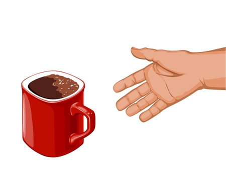 hand goes to the red cup of coffee to take her Vector