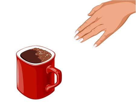 kitchen studio: hand goes to the red cup of coffee