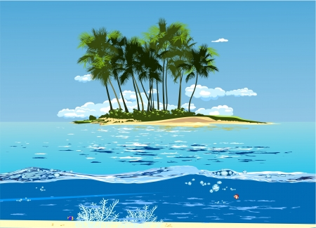 tropical island in the ocean with palm trees Vector