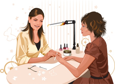 The girl doing a manicure at the beauty salon Vector