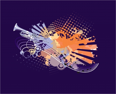 jazz band: An abstract pipe on blue background Illustration