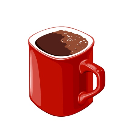 red cup of coffee on a white background Stock Vector - 13914342