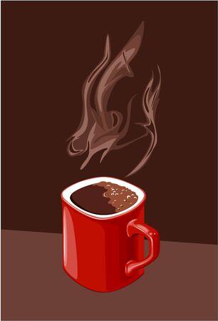 rosnąco: czerwony kubek kawy z aromatem rosnącej Ilustracja