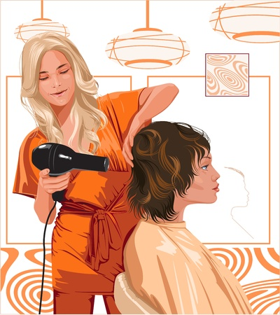 stylist: woman barber doing haircut girl Illustration
