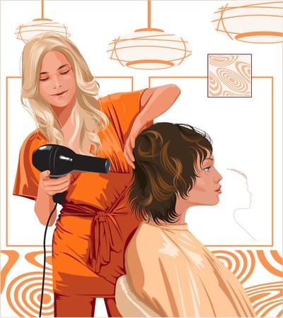woman barber doing haircut girl Vector