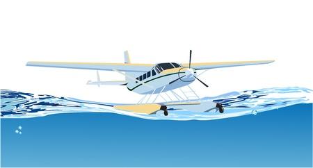 seaplane on the sea Stock Vector - 13920375