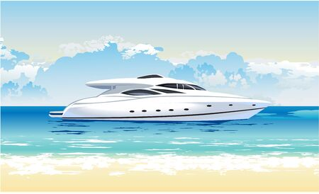 speed boat: Speed boat on seashore daylight Illustration