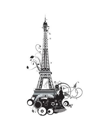 eiffel tower: Par�s Torre Eiffel en colores blanco y negro