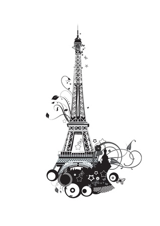 Paris Eiffel Tower in black and white colors