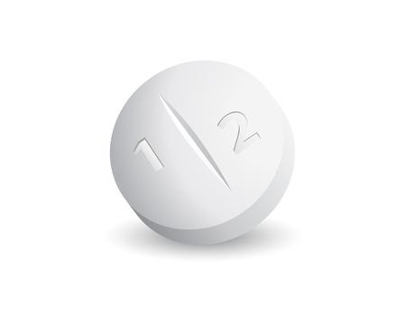 pastillas: un segundo comprimido blanco sobre fondo blanco Vectores