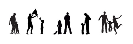 Silhouettes and actions of family in black and white colors