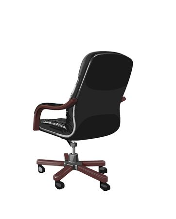 arm chair: black business chair with brown arms and legs Illustration