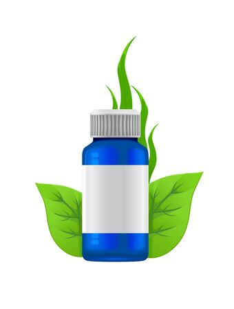 blue bottle of medicine next to the green leaves on white background